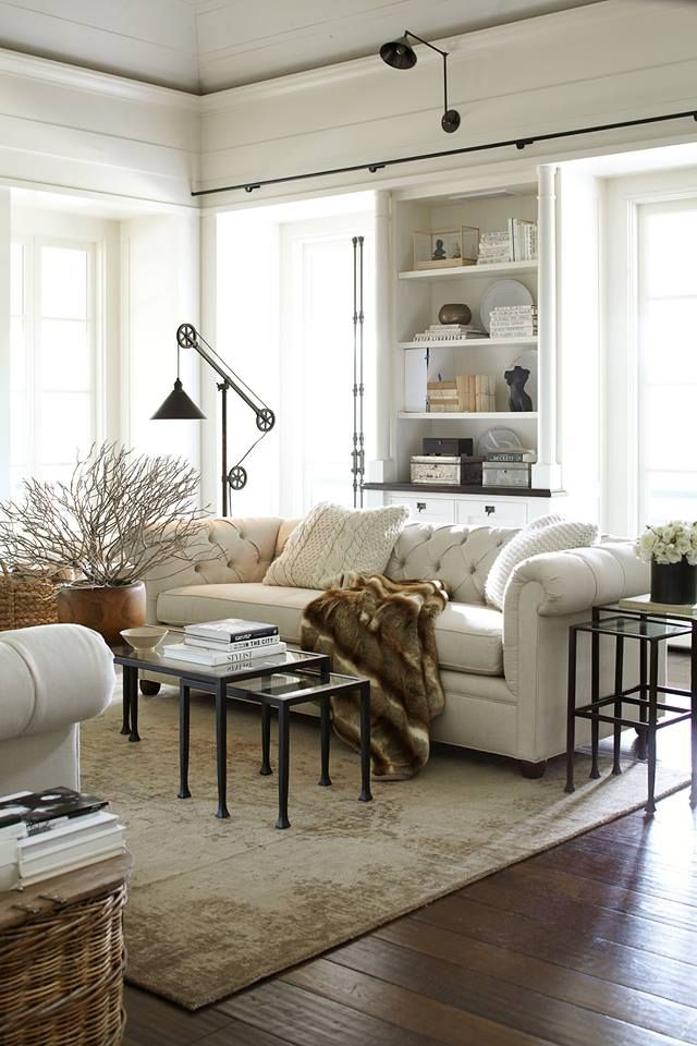Industrial Country Decor Cozy Neutral Living Room with Industrial Style Lamps